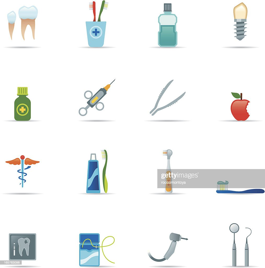 Icon Set Dental Equipment Color Vector Art