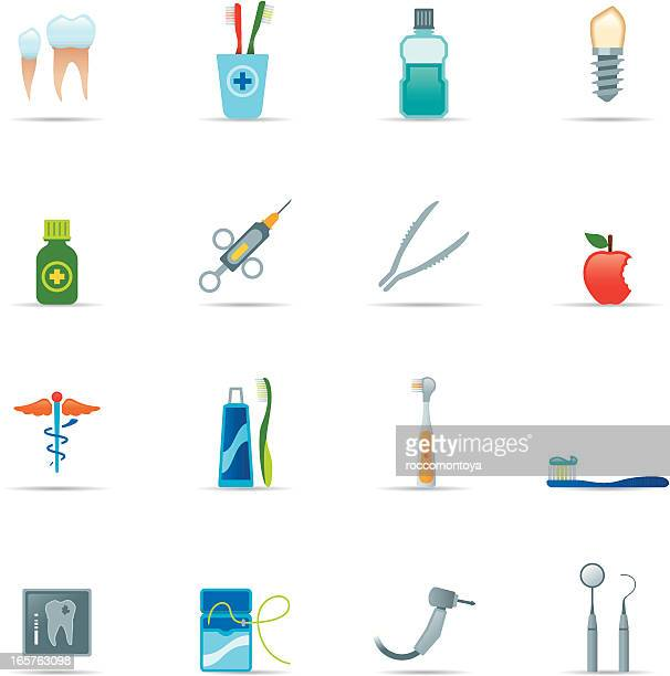 icon set, dental equipment color - dental floss stock illustrations
