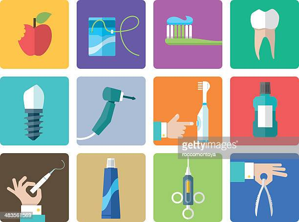 icon set, dentist office - dental floss stock illustrations