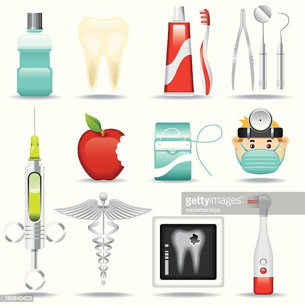 icon set, dentist - dental floss stock illustrations, clip art, cartoons, & icons