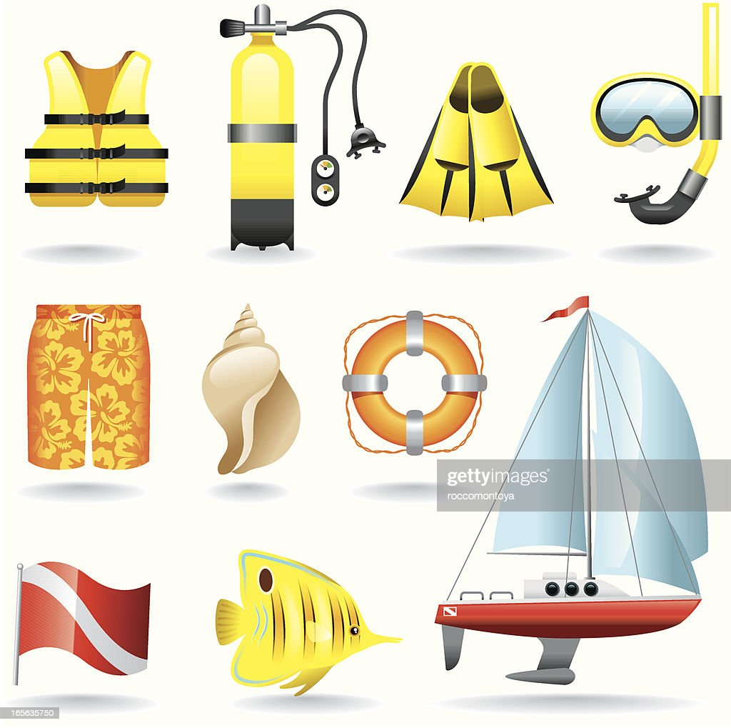 Icon Set, Diving : stock illustration