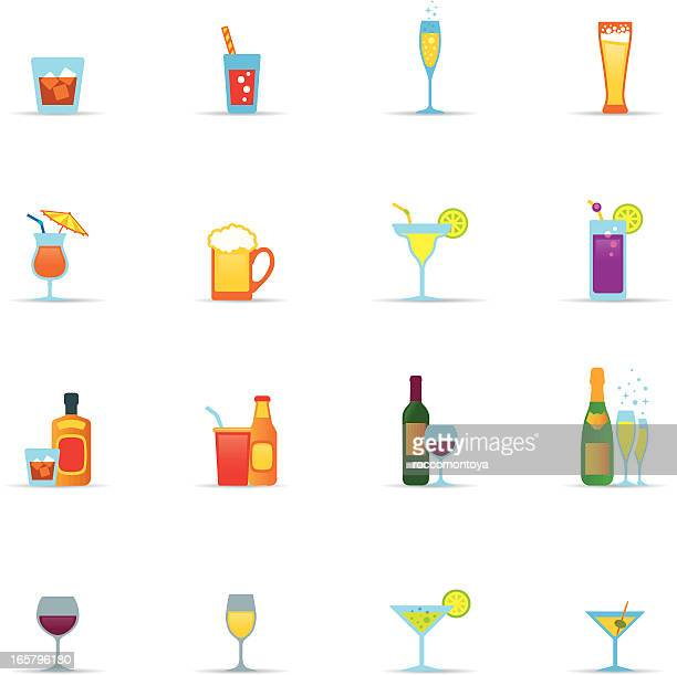 icon set, drinks and glasses color - juice drink stock illustrations, clip art, cartoons, & icons