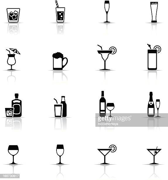 icon set, drinks and glasses - juice drink stock illustrations, clip art, cartoons, & icons