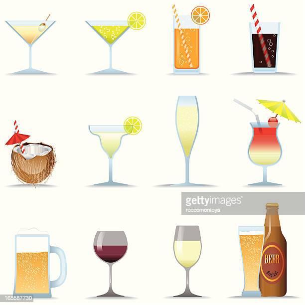 icon set, drinks - coconut milk stock illustrations, clip art, cartoons, & icons