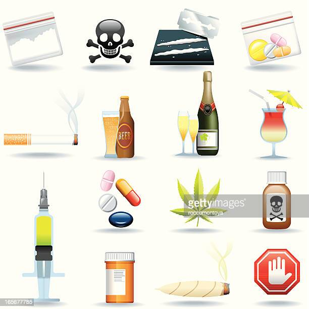 icon set, drugs and drinks - recreational drug stock illustrations, clip art, cartoons, & icons