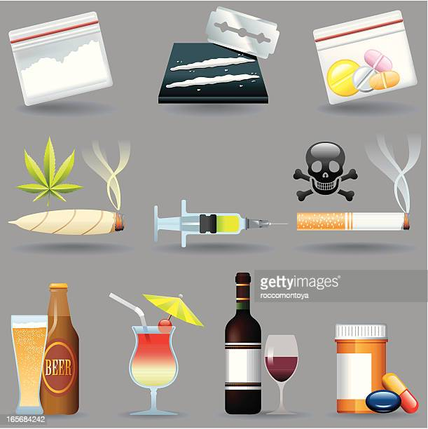 bildbanksillustrationer, clip art samt tecknat material och ikoner med icon set, drugs and drinks - crime or recreational drug or prison or legal trial