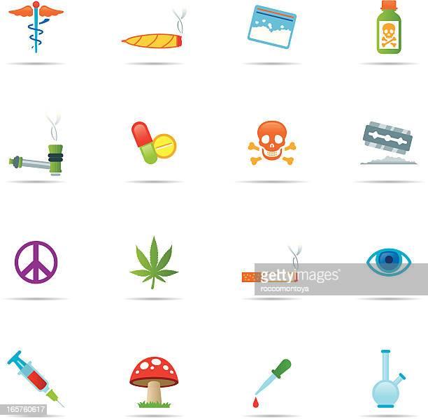 icon-set, drogen farbe - cannabis medicinal stock-grafiken, -clipart, -cartoons und -symbole