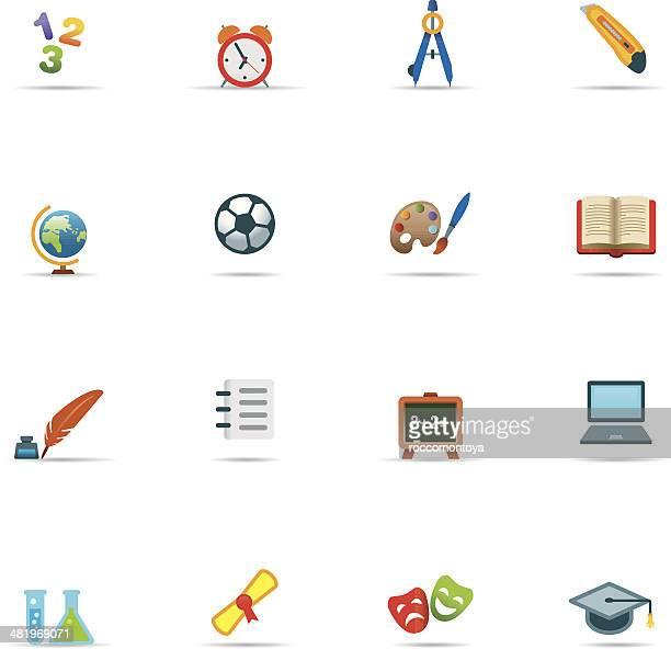ilustraciones, imágenes clip art, dibujos animados e iconos de stock de conjunto de iconos de educación de color - edificio de escuela primaria