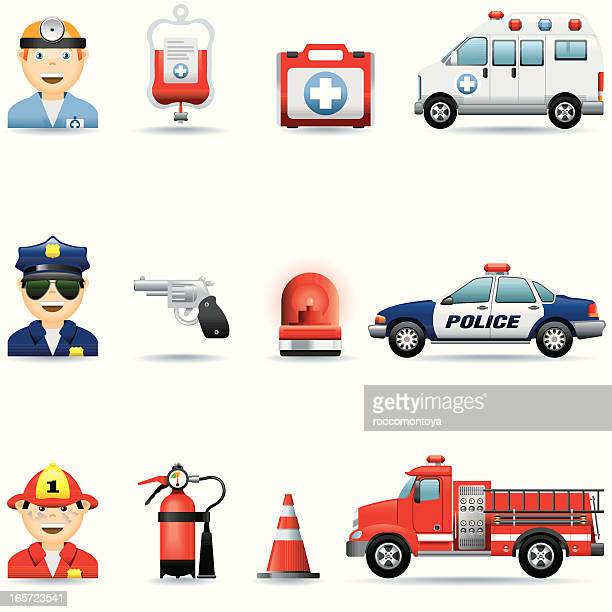 icon set, emergency services - fire engine stock illustrations, clip art, cartoons, & icons