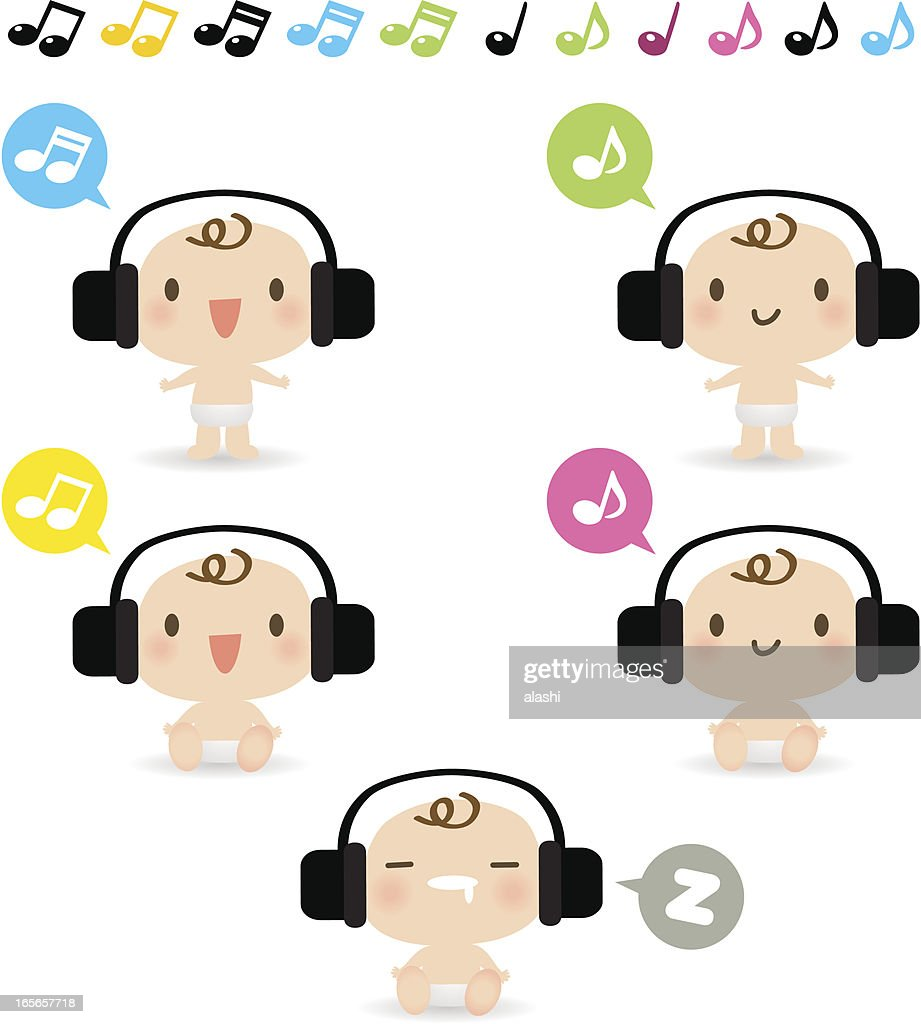 Icon set, Emoticons - Cute Baby listening to music( headphones )