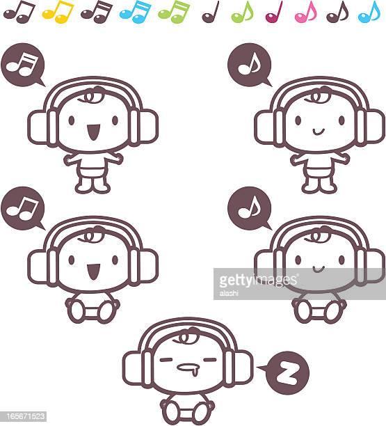 Icon-set, Emoticons-süße Baby Musik hören (Kopfhörer