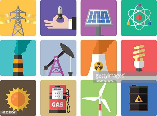 icon set, energy and industry - nuclear energy stock illustrations