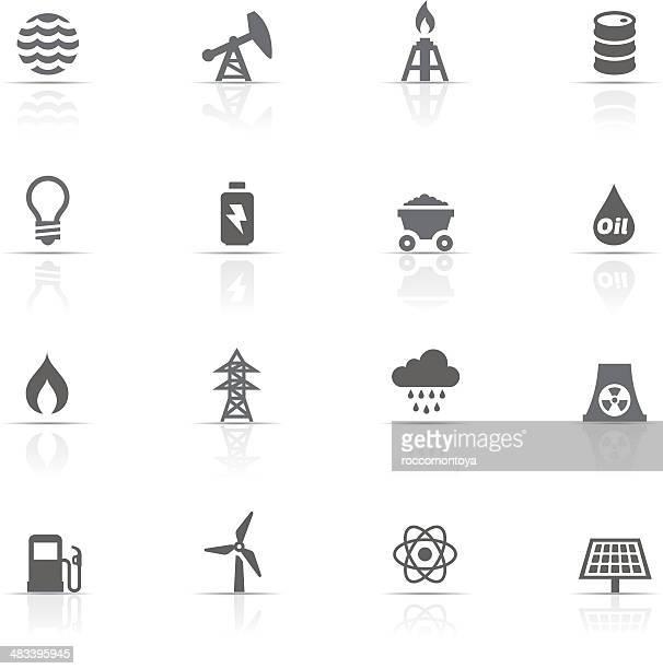 ilustraciones, imágenes clip art, dibujos animados e iconos de stock de conjunto de iconos de energía y de la industria - torre petrolera