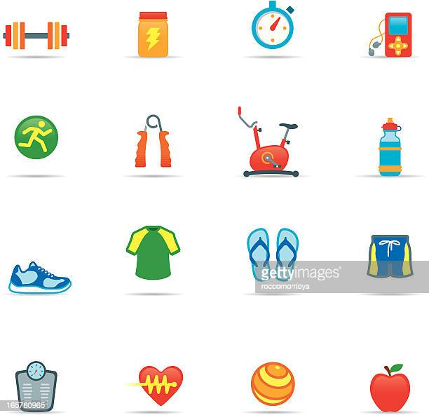 icon set, exercising color - sports hall stock illustrations
