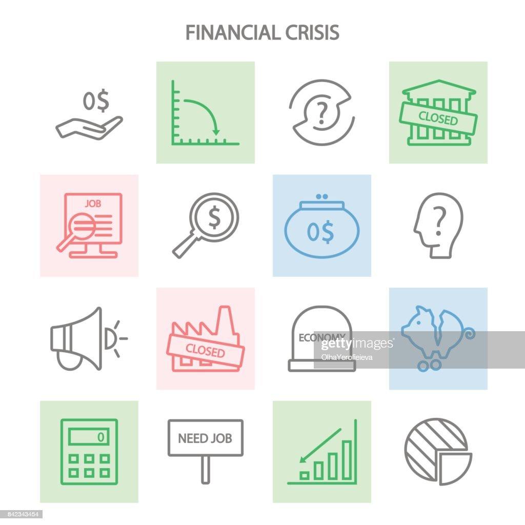 Icon set financial crisis.