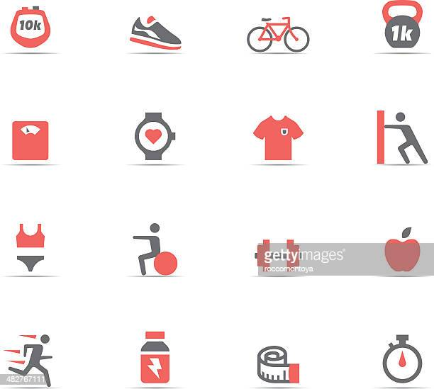 icon set, fitness and gym - sports hall stock illustrations