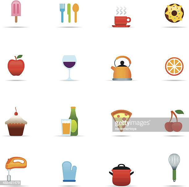 icon set, food and kitchen color - egg beater stock illustrations, clip art, cartoons, & icons