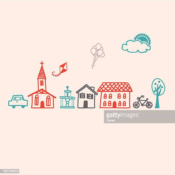 icon set for a small village town - town stock illustrations