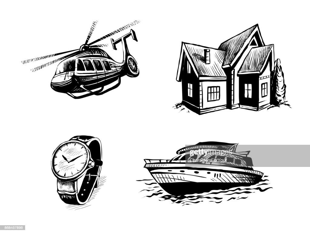 icon set for elite site. Helicopter, yacht, real estate, watches