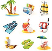 Icon set for items related to beach activities