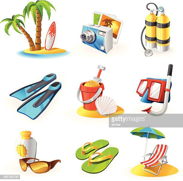 icon set for items related to beach activities - sand stock illustrations