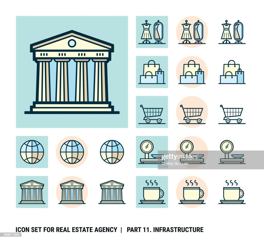Icon set for real estate agency. Part 11. Infrastructure