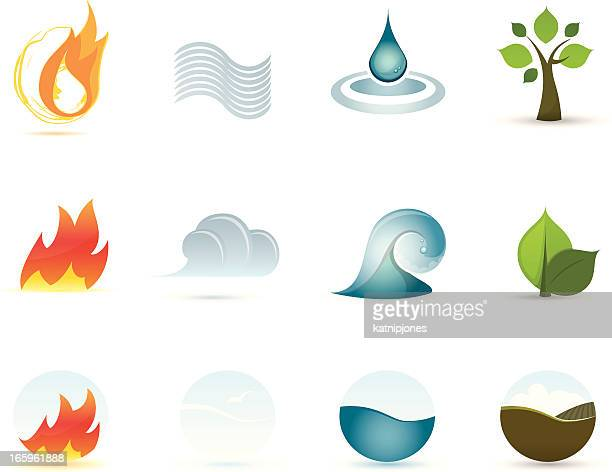 icon set - four elements - the four elements stock illustrations
