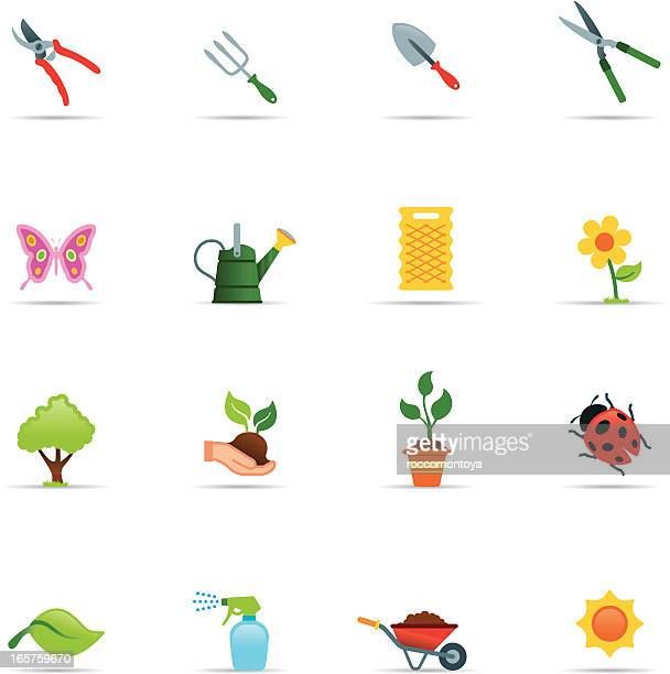 icon set, gardening color - pruning shears stock illustrations, clip art, cartoons, & icons