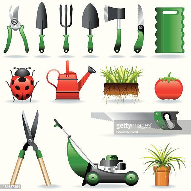 icon set, gardening - pruning shears stock illustrations, clip art, cartoons, & icons