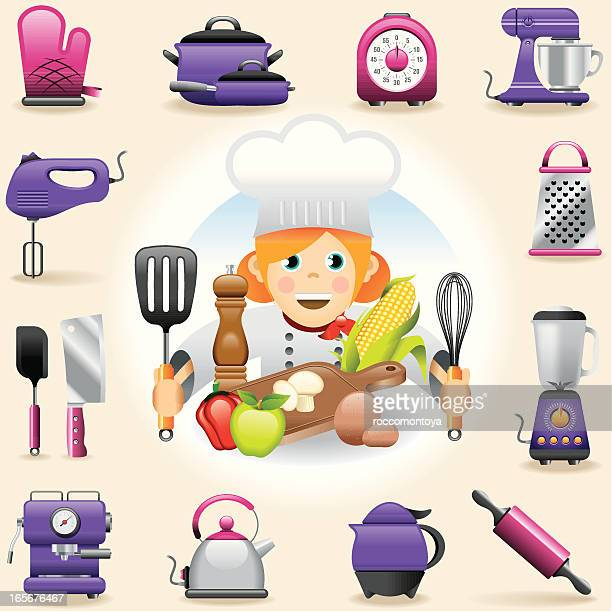 icon set, girl cooking - egg beater stock illustrations, clip art, cartoons, & icons