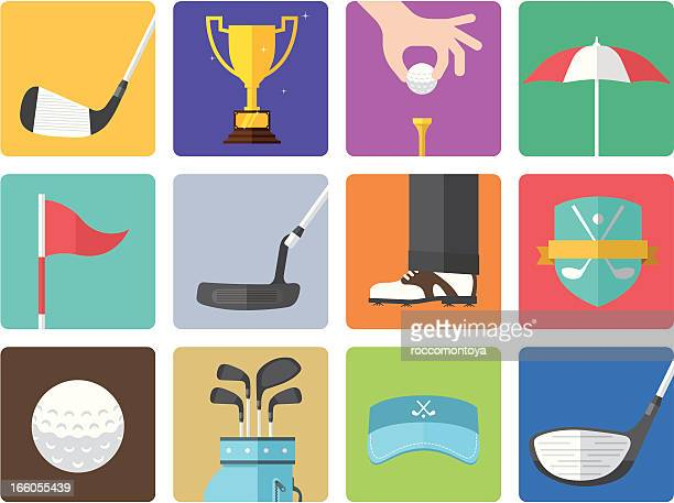 icon set, golf color - teeing off stock illustrations, clip art, cartoons, & icons