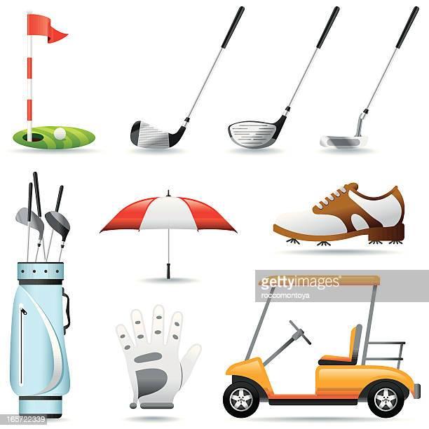 icon set, golf - golf club stock illustrations