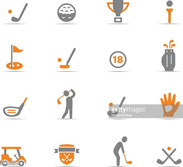 icon set, golf - green golf course stock illustrations, clip art, cartoons, & icons