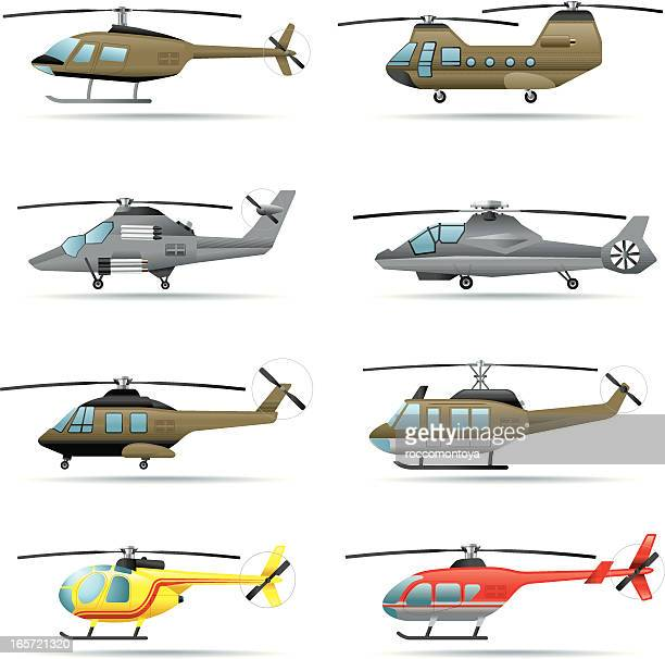 icon set, helicopters - helicopter stock illustrations
