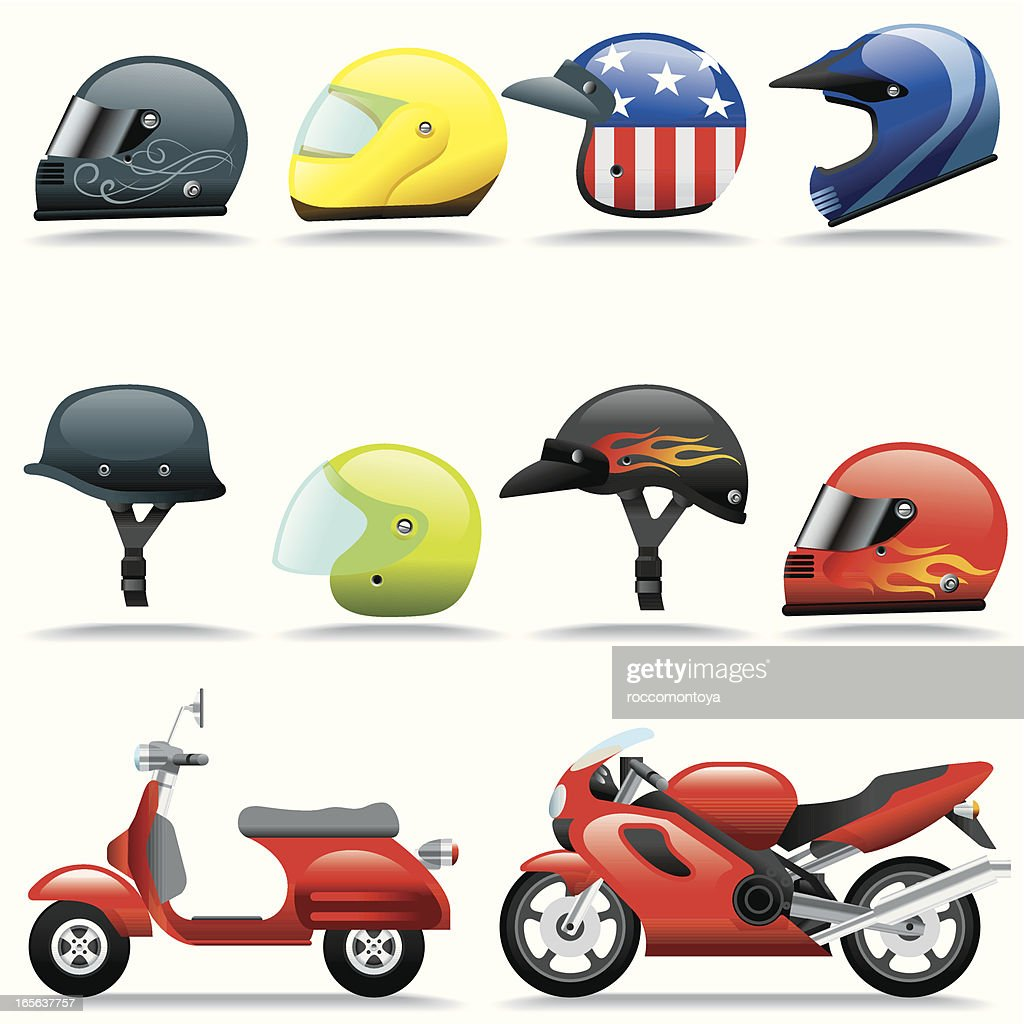 Icon Set, Helmets and Motorcycles : stock illustration
