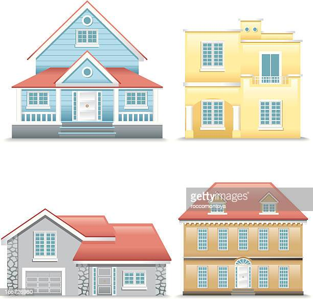 icon set, houses - bungalow stock illustrations, clip art, cartoons, & icons