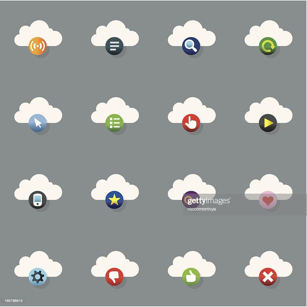 Icon Set, Internet Clouds Color