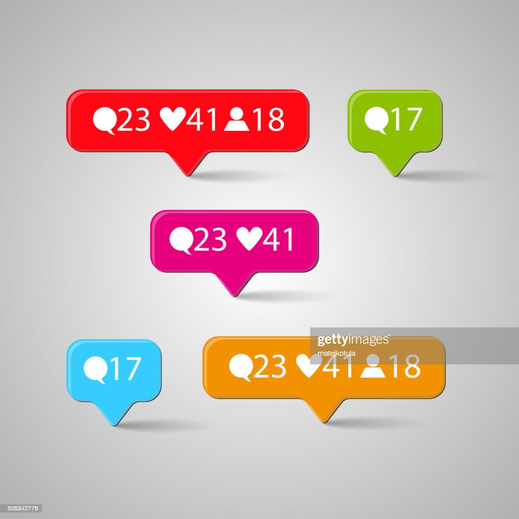 Icon set, Like, follower, comment. Vector illustration