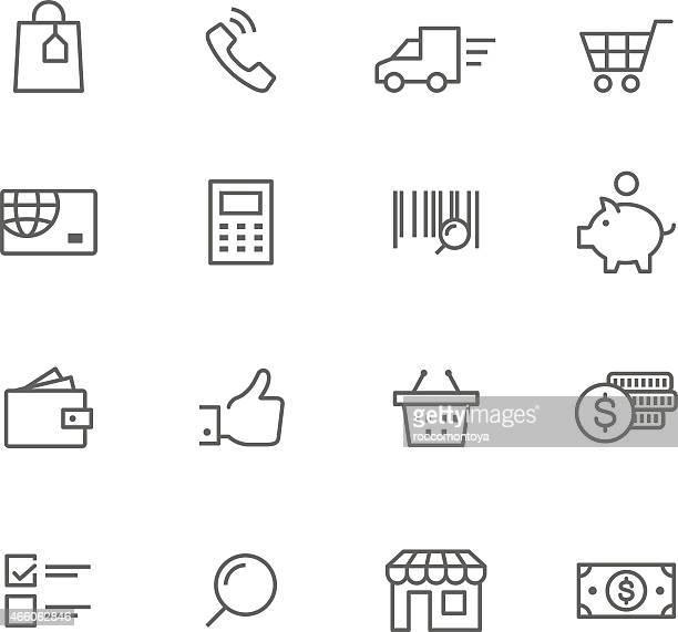 icon set, logistic - basket stock illustrations, clip art, cartoons, & icons
