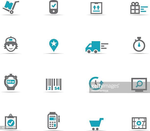 icon set, logistic - card reader stock illustrations, clip art, cartoons, & icons