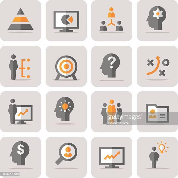 icon set, management - initiative stock illustrations