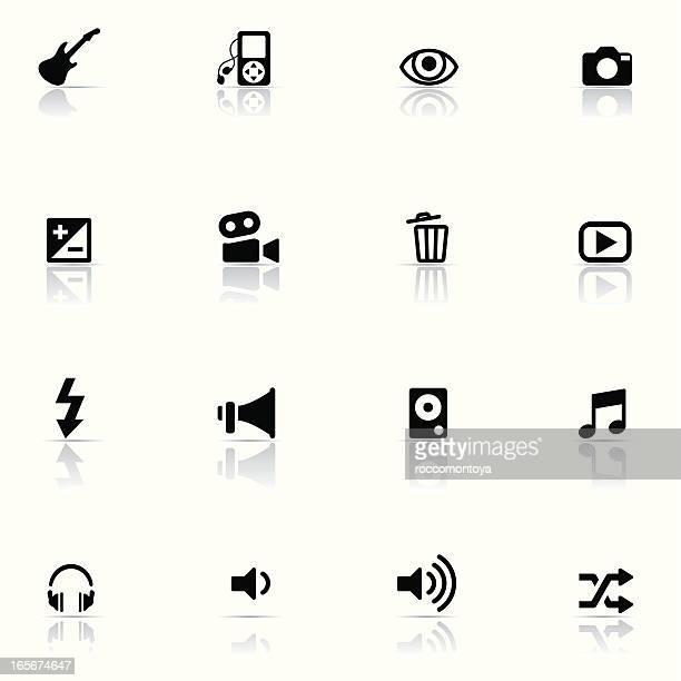 icon set, multimedia - volume knob stock illustrations, clip art, cartoons, & icons
