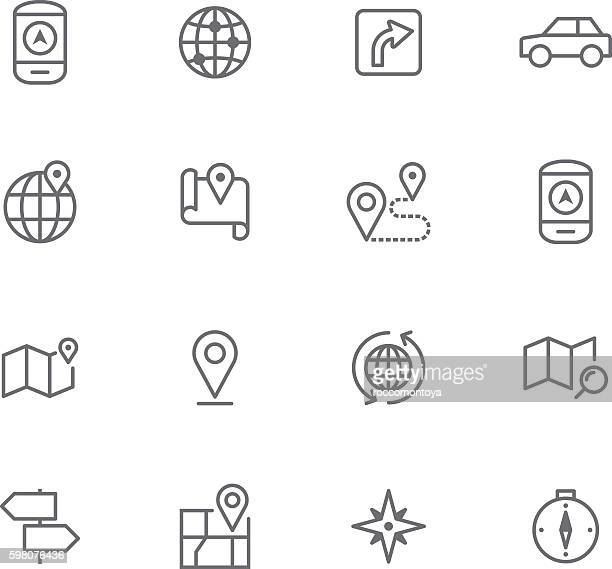icon set, navigation - cartography stock illustrations