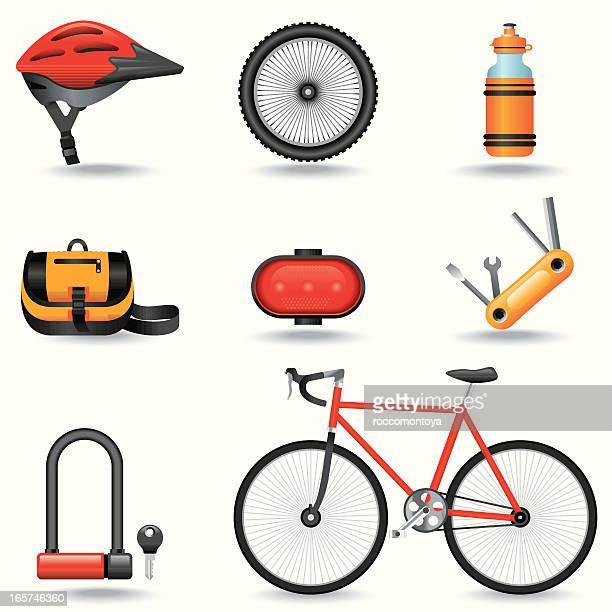 icon set of bike-related items - bike helmet stock illustrations, clip art, cartoons, & icons