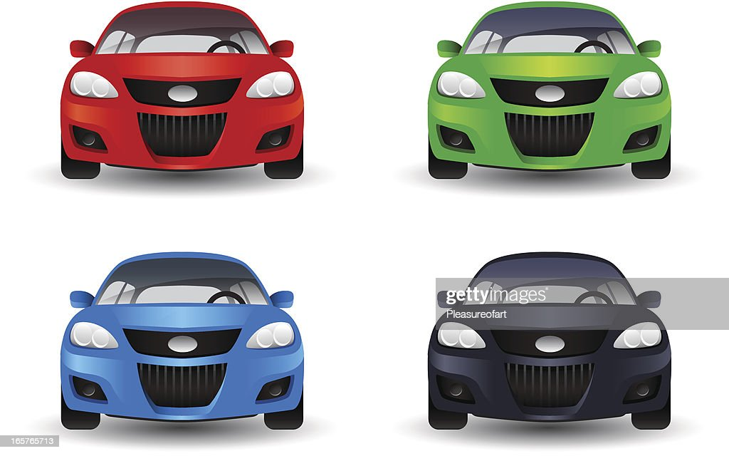 Icon set of cars in four different colors