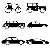 Icon set of cars through history.