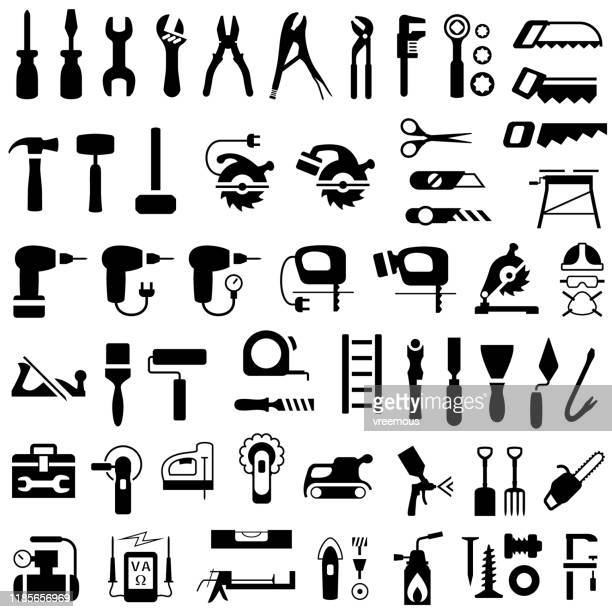 icon set of construction, renovation and diy tools. - work tool stock illustrations