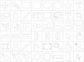 Icon set of design tools