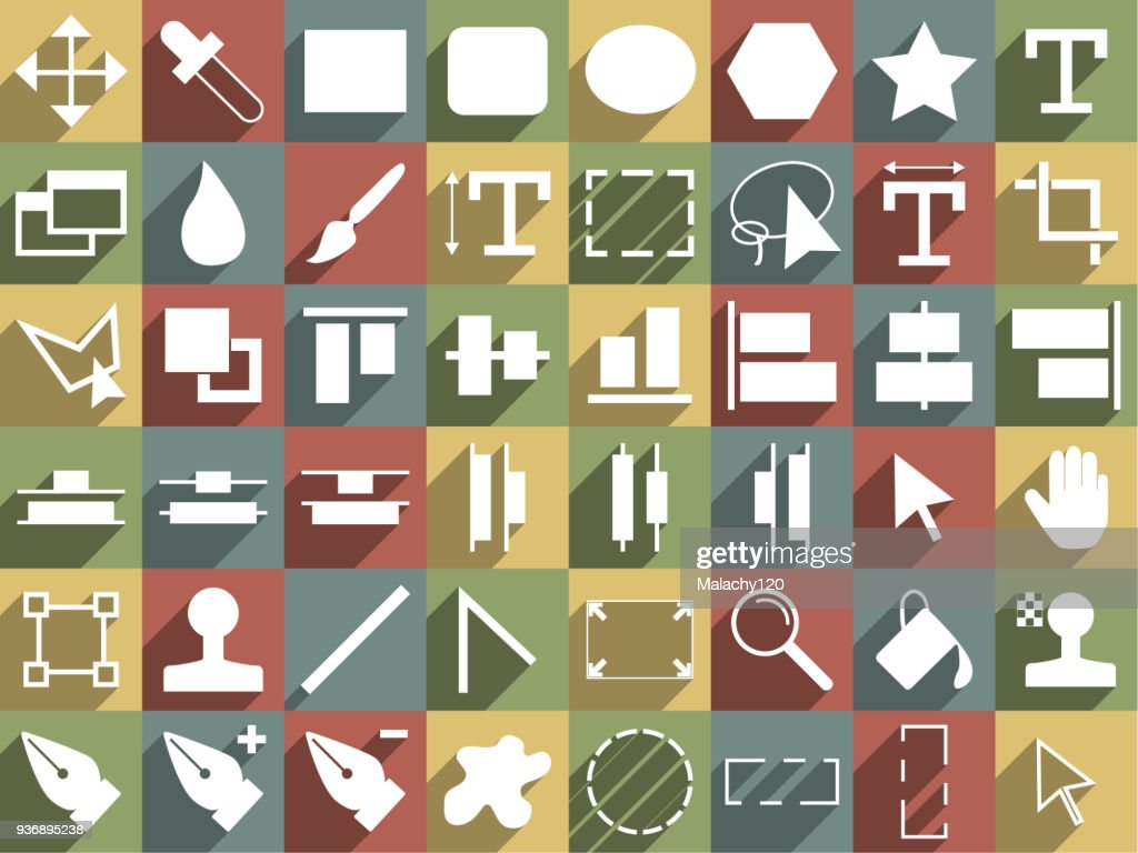 Icon set of design tools