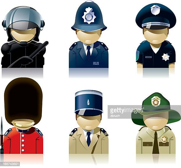 Icon set of diverse policemen